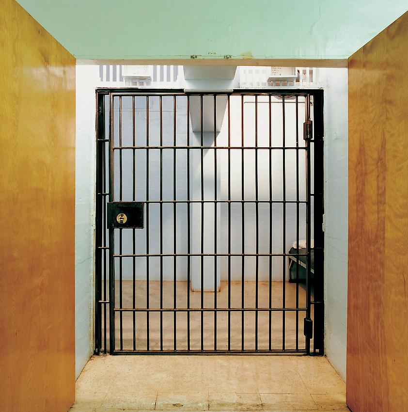 Lucinda Devlin<br />Final Holding Cell, Indiana State Prison<br />1991<br />c-print<br />29 1/8 x 29 1/8 inches (74 x 74 cm)<br />edition of 8<br />PF1966<br />minimum donation: EUR 9,300.<br />(including frame)<br />