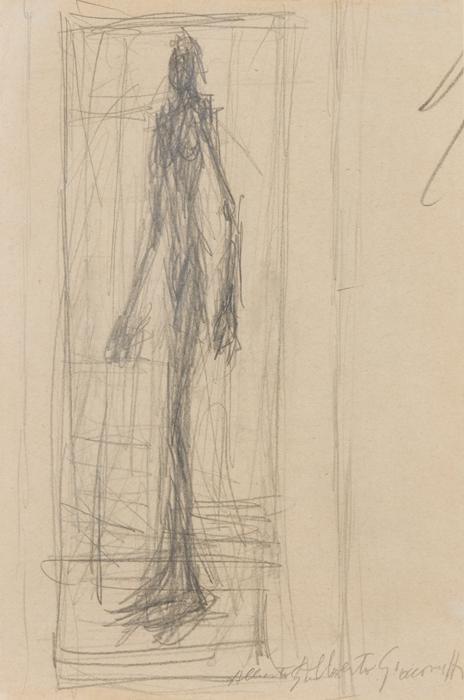 ALBERTO GIACOMETTI  (1901-1966)<br /><i>Nu debout dans l'atelier</i><br />1950<br />graphite on paper<br />7 1/2 x 5 inches (19.1 x 12.7 cm)<br />