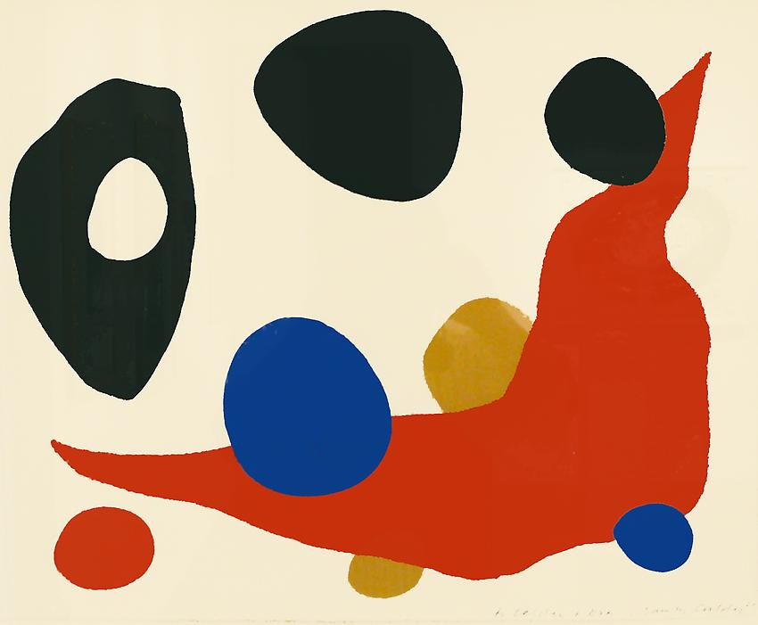 Alexander Calder<br />Untitled<br />1961<br />color lithograph<br />18 x 22 1/2 inches (45.7 x 57.2 cm)<br />PF1829<br />artist's copy outside of edition of 300<br />inscribed by the artist to his nephew<br />minimum donation: EUR 4,300.<br />(including frame)<br />