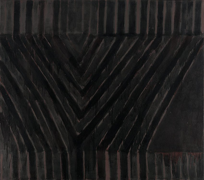 Frank Stella<br />Delta<br />1958<br />enamel on canvas<br />85 1/2 x 97 inches<br />(217.2 x 246.4 cm)<br />