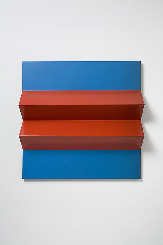 Charlotte Posenenske<br />Faltung (Fold), 1966<br />RAL red and blue spray paint on folded sheet aluminum<br />29 1/2 x 29 1/2 x 5 1/2 inches<br />