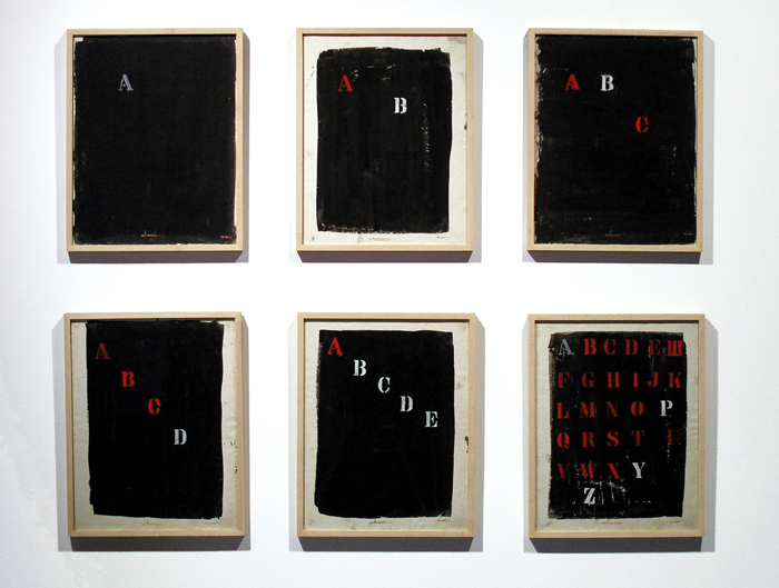 Mangelos<br />Abeceda 1 - 6 (Alphabet 1-6)<br />1971-1978<br />tempera on paper, in six elements<br />14 x 10 7/8 inches (35.5 x 27.5 cm) (each element)<br />