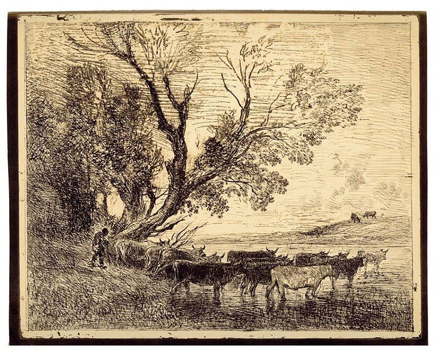 Charles-François Daubigny<br />Le Gué<br />1858/62<br />salt print<br />12 x 15 inches<br />30.6 x 38.1 cm<br />