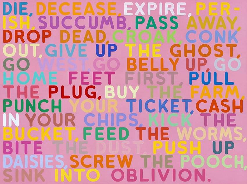Mel Bochner<br />Die<br />2004<br />acrylic and oil on canvas<br />60 x 80 inches <br />(152.4 x 203.2 cm)<br />