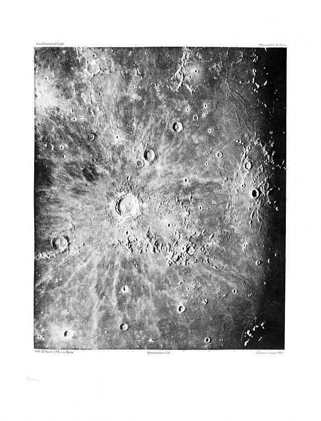 LOEWY AND PUISEUX<br />Photographie Lunaire: Lalande - Copernic - Képler,<br />23 Avril 1896, 8h 3, t.m. de Paris<br />1896<br />heliogravure (with tissue overlay)<br />22-1/2 x 18-3/4- inches (57.15 x 47.62 cm)<br />