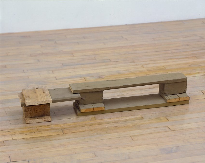 Helen Mirra<br />Gilman<br />	2006		<br />	pallet wood, milk paint<br />	6 x 39 1/8 x 7 5/8 inches<br />	 (15 x 101 x 19 cm)<br />