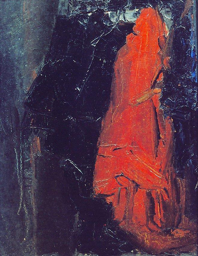 James Ensor<br />Le porte-manteau  (The Hatstand)<br />1876<br />oil on cardboard<br />24 x 19 cm<br />