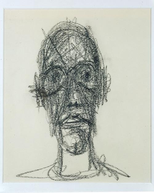 ALBERTO GIACOMETTI  (1901-1966)<br /><i>Portrait de Diego</i><br />1958<br />black crayon on paper<br />9 1/2 x 7 7/8 inches (24 x 20 cm)<br />Private Collection<br />