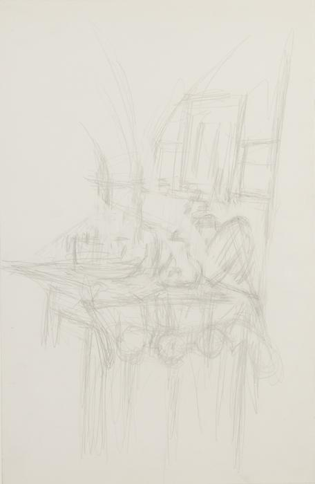 Alberto Giacometti<br />Intérieur à Stampa<br />c. 1960-65<br />graphite on paper<br />19 5/8 x 12 5/8 inches (50 x 32 cm)<br />