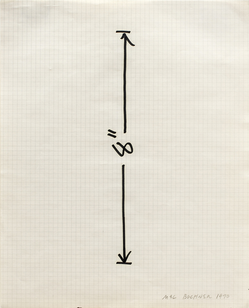 "MEL BOCHNER<br /><i>Measurement: 8"" (Vertical)</i><br />1970<br />ink on graph paper<br />11 x 8 1/2 inches (27.94 x 21.59 cm)<br />"