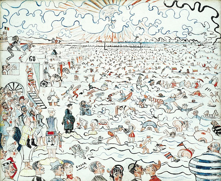 Les bains à Ostend (The Baths at Ostende)<br />1890<br />black pencil, colored pencils and oil on wood panel<br />37.5 x 45.5 cm<br />