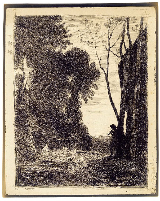 Jean-Baptiste-Camille Corot<br />Le Petit Berger (second plate)<br />1855<br />salt print on heavy paper<br />14 7/8 x 11 7/8 inches<br />37.7 x 30.1 cm<br />