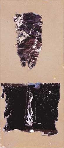 "Black Descending<br />c. 1920-22<br />printed paper collage on paper<br />8 x 3 1/2 inches (20.32 x 8.89 cm)<br />signed recto, lower right: ""Joseph Stella""<br />"