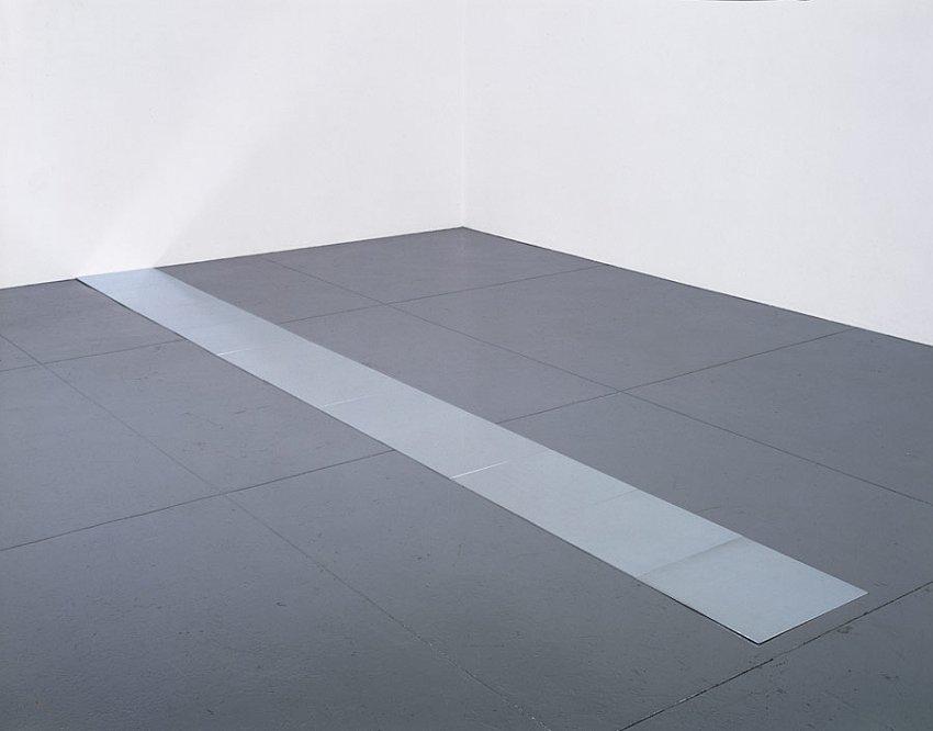 CARL ANDRE<br />Eleventh Aluminum Cardinal<br />1978<br />aluminum<br />11 units, each 3/8 x 19-3/4 x 19-3/4 inches (.9525 x 50.16 x 50.16 cm)<br />