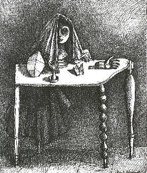 ALBERTO GIACOMETTI  (1901-1966)<br /><i>La table surrealiste</i><br />1933<br />pen and India ink on paper<br />8 3/4 x 7 1/4 inches (22.2 x 18.4 cm)<br />