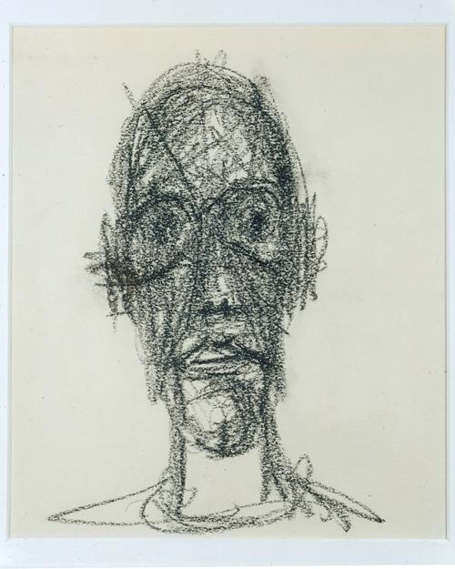 Alberto Giacometti<br />Portrait de Diego<br />1958<br />black crayon on paper<br />9 1/2 x 7 7/8 inches (24 x 20 cm) <br />Private Collection<br />