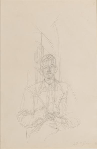 ALBERTO GIACOMETTI  (1901-1966)<br /><i>Portrait de James Lord</i><br />1954-55<br />graphite on paper<br />19 x 12 7/16 inches (48.3 x 32.7 cm)<br />Private Collection<br />