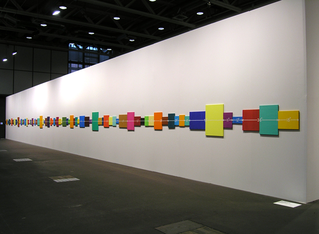 MEL BOCHNER<br /><i>Event Horizon</i><br />1998<br />oil and acrylic on canvas, in 83 panels<br />28 inches x 98 feet  (71 cm x 29.9 meters)<br />