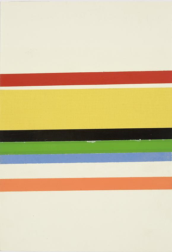 Charlotte Posenenske<br />Streifenbild (Striped Picture), 1965<br />colored tape on paper<br />9 1/2 x 6 1/2 inches<br />