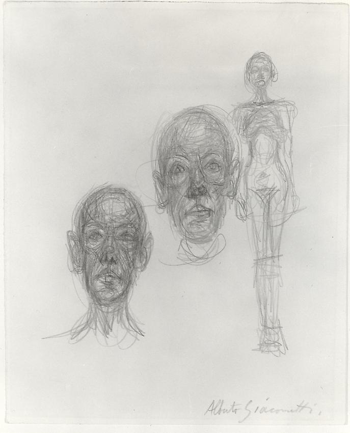 ALBERTO GIACOMETTI  (1901-1966)<br /><i>Deux têtes (Diego) et nu (Annette)</i><br />c. 1960<br />graphite on paper<br />10 1/4 x 8 1/4 inches (26 x 21 cm)<br />Private Collection<br />