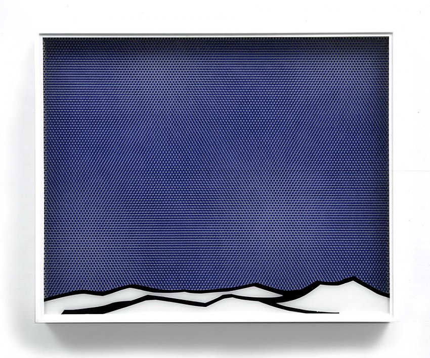 ROY LICHTENSTEIN  (1923 - 1997)<br /><i>Arctic Landscape</i><br />1964<br />oil and Magna on plexiglass and wood, in the artist's plexiglass frame<br />overall: 25 x 31 x 3 1/4 inches (62.5 x 78.7 x 8.2 cm)<br />