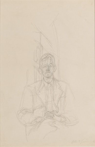 Alberto Giacometti<br />Portrait de James Lord<br />1954-55<br />graphite on paper<br />19 x 12 7/16 inches (48.3 x 32.7 cm)<br />Private Collection<br />