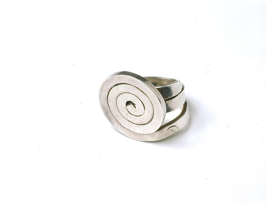 ALEXANDER CALDER    (1898-1976)<br />Untitled (Ring)<br />c. 1940<br />silver<br />1 1/4 x 1 3/16 x 1 1/9 inches<br />  (3.18 x 3.02 x 2.86 cm)<br />