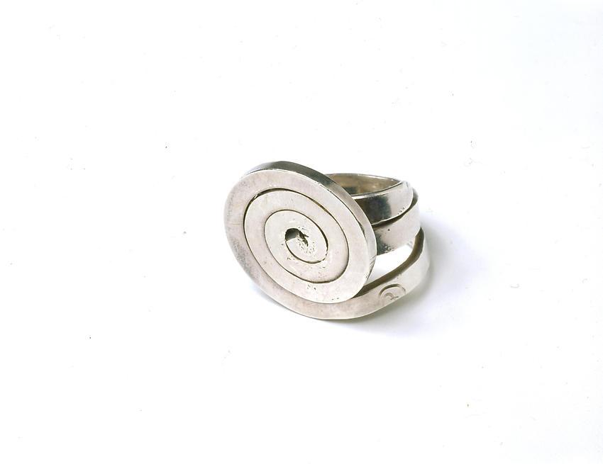ALEXANDER CALDER    (1898-1976)<br /><i>Untitled</i> (Ring)<br />c. 1940<br />silver<br />1 1/4 x 1 3/16 x 1 1/9 inches (3.18 x 3.02 x 2.86 cm)<br />