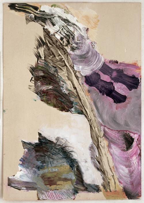 PIA FRIES<br /><i>fahnen papier n°1</i><br />2012<br />huile et sérigraphie sur papier / oilcolor and silkscreen on paper<br />39 3/4 x 28 inches (101 x 71 cm)<br />