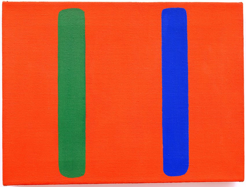 Ellsworth Kelly<br />Blue Green Red	(EK 303)<br />1963<br />oil on canvas<br />12 x 16 inches <br />(30.5 x 40.6 cm)<br />