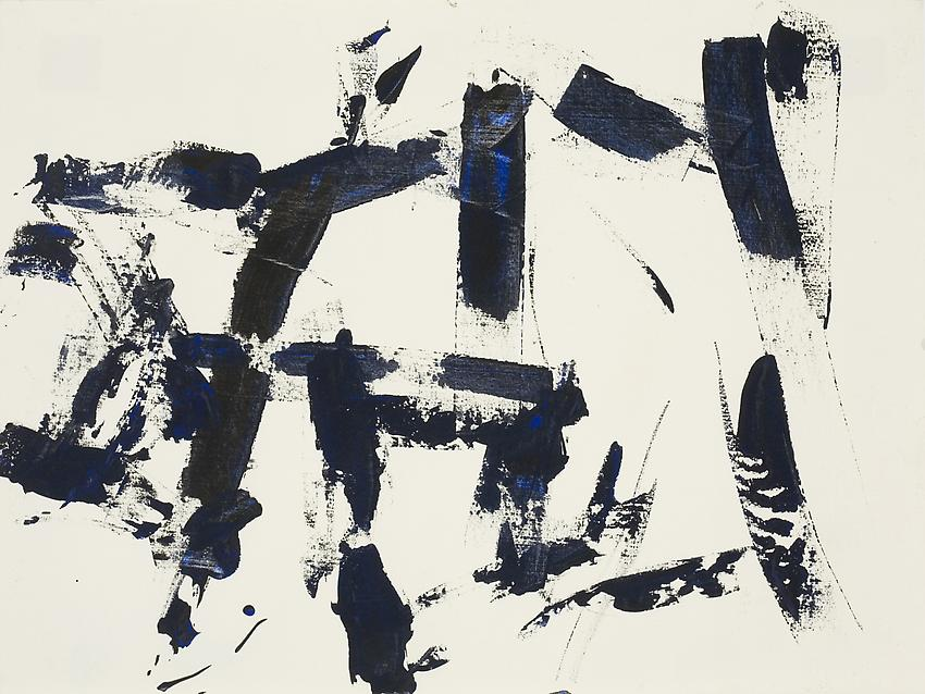 Charlotte Posenenske<br />Untitled, 1962<br />acrylic on paper<br />9 1/2 x 12 5/8 inches<br />