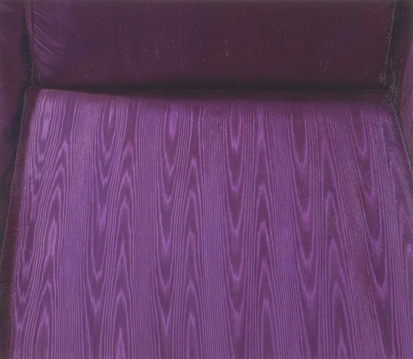 CATHERINE MURPHY<br /><i>Moire Chair</i><br />1991<br />oil on canvas<br />40 x 46 inches (101.6 x 116.8 cm)<br />