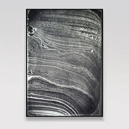 DOVE ALLOUCHE<br /><i>Pétrographie_1</i><br />2014<br />gelatin silver bromide print from a thin stalagmite section<br />Framed: 84 11/16 x 55 15/16 inches (215 x 142 cm)<br />
