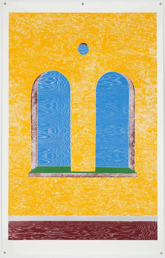 THOMAS SCHÜTTE<br /><i>Double Window</i><br />2011<br />colored woodcut print<br />image: 89 11/16 x 58 15/16 inches (227.5 x 149.7 cm) <br />paper: 99 11/16 x 63 11/16 inches (253 x 161.4 cm)<br />