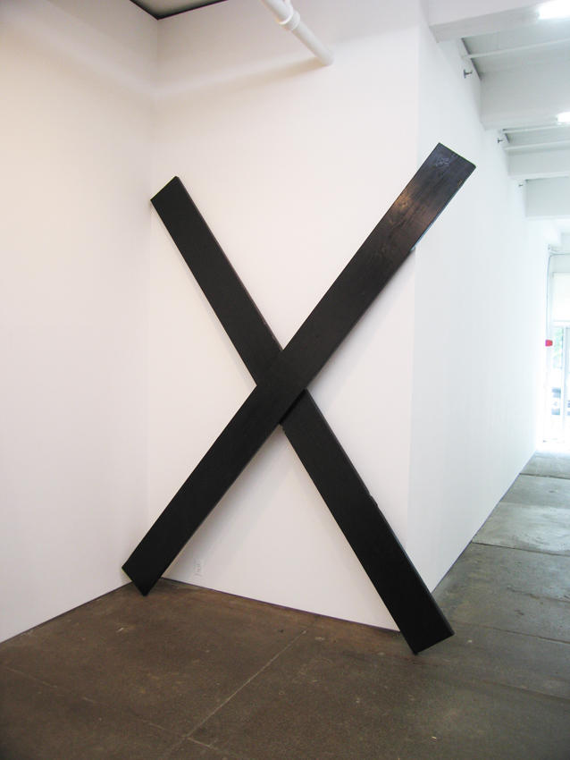 X sculpture 2007 paint, wood 122 x 95 x 3.25 inches/309.9 x 241.3 x 8.3 cm
