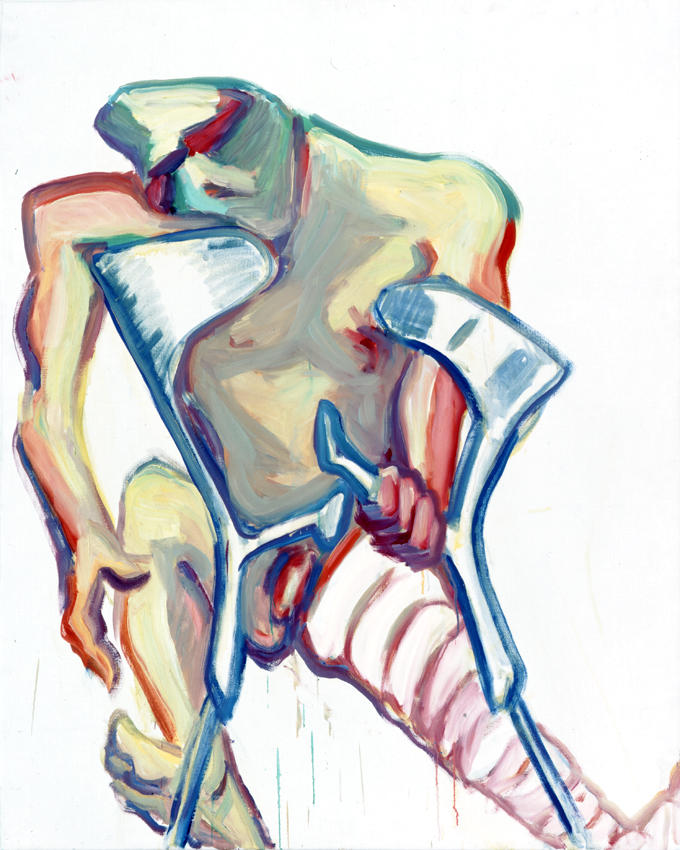 <i>Untitled (Crutches, Broken Leg)</i> 2005 Oil on canvas 49.21 x 39.37 inches