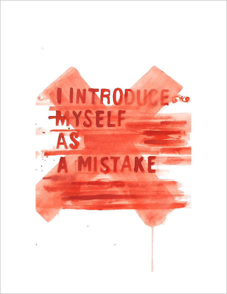 I introduce myself as a mistake 2008 vermillion pigment on paper each: 30.25 x 22.5 inches/76.8 x 57.2 cm