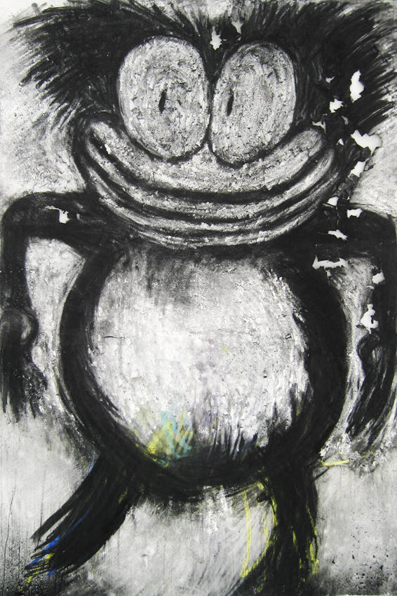 Splitting hairs 2008 charcoal and pastel on paper 59.25  x 40.125 inches/150.5 x 101.9 cm