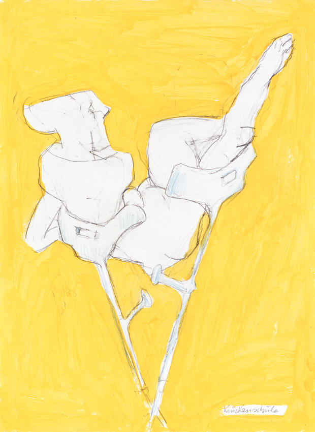 <i>Krueckenscheide</i> 2005 Pencil and watercolor on paper 23.5 x 17.25 inches