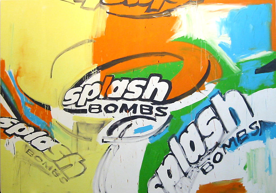 Splash Bombs 2 2002 acrylic on canvas 110.24 x 157.48 inches/280 x 400 cm