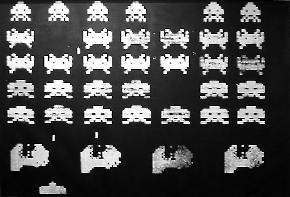 Space Invaders 1 2002 acrylic and silkscreen on canvas 145.67 x 212.6 inches/370 x 540 cm