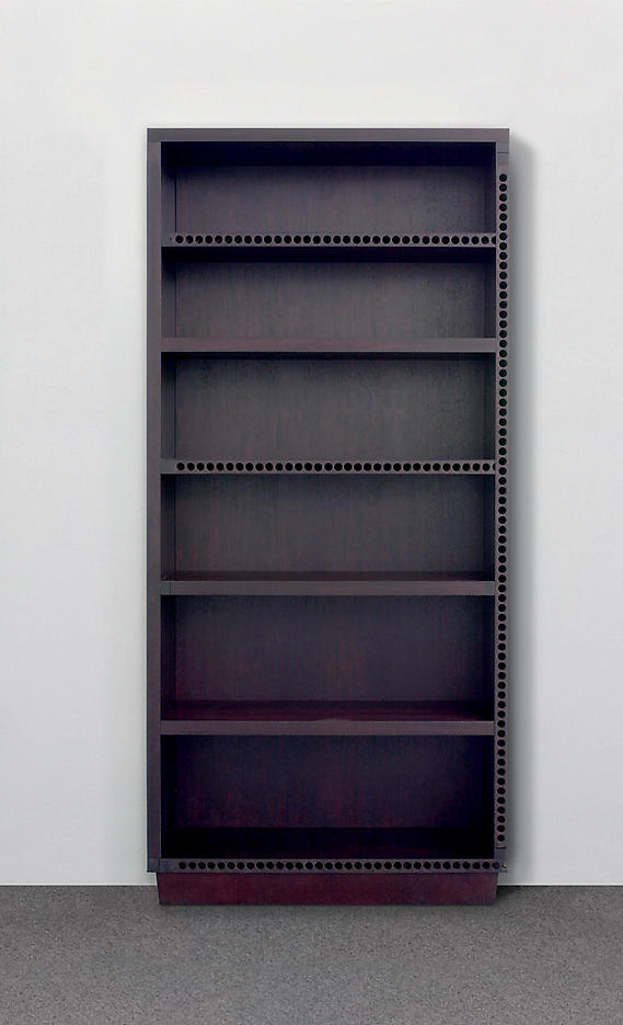 Thomas Schütte: Regal (Shelf) 2006, edition of 6 hollow-core wood door panel construction, stained 84.5 x 41.25 x 15.75 inches/215 x 105 x 40 cm