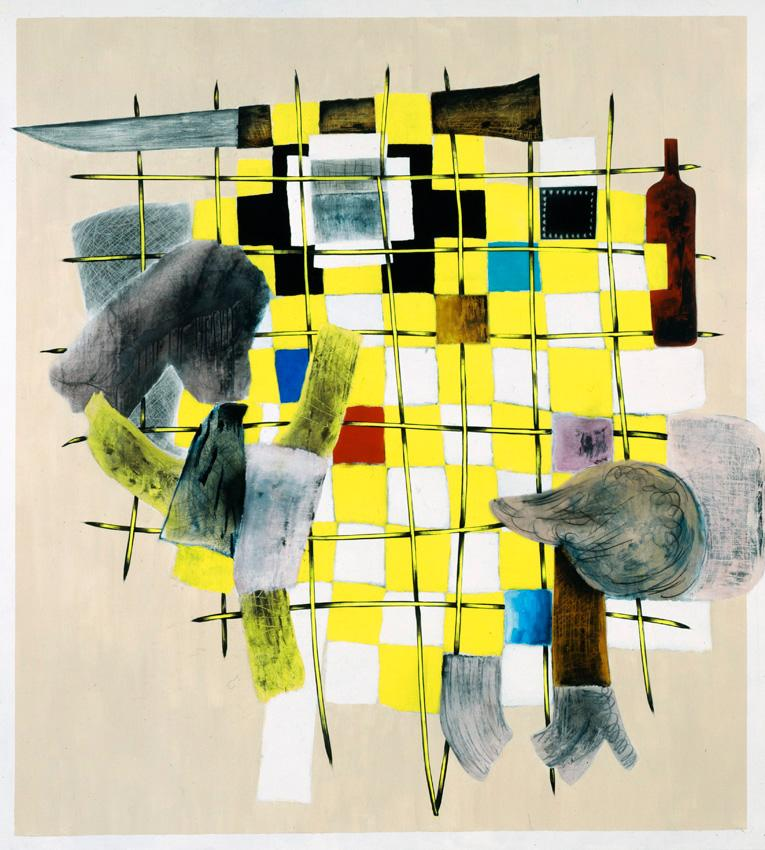 <i>Yellow Guitar</i> 2010 Acrylic, oil, and charcoal on linen 82 x 78 inches