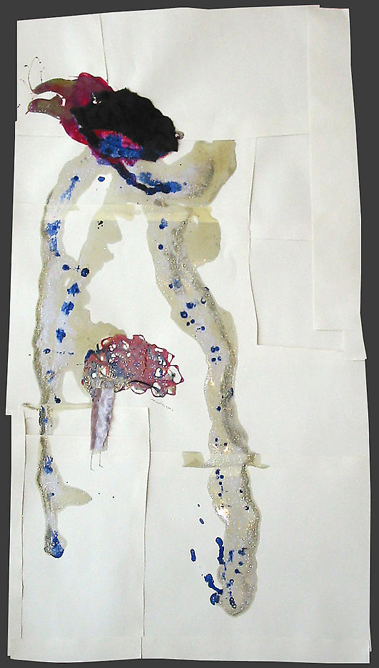 Just don't try again					 2003 mixed media on paper 44 x 22.5 inches/111.8 x 57.2 cm