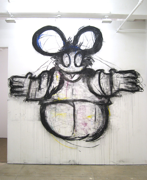 Welcome  2008 Charcoal and pastel on wall 154 x 170 inches 391.2 x 431.8 cm