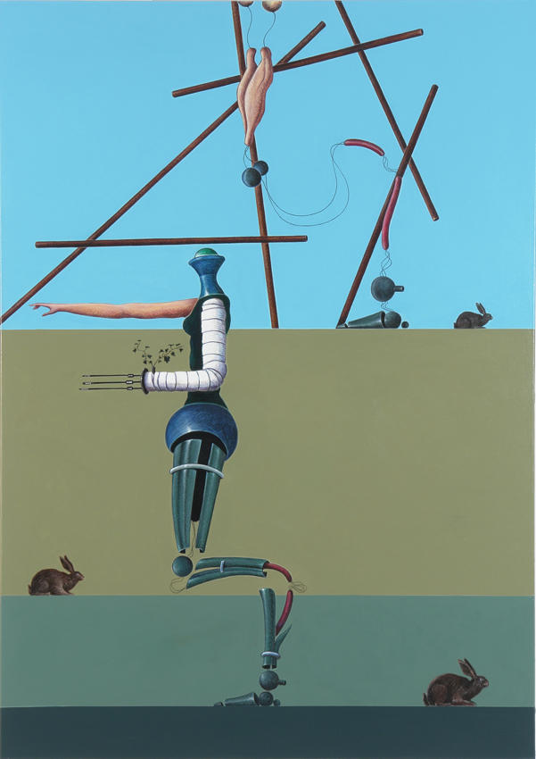 The Two Figures Hunt Rabbits 2006 acrylic on canvas 66.93 x 47.24 inches/170 x 120 cm