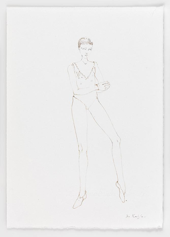 Brown Dancer 2010 Pencil on paper 14.17 x 10.04 inches