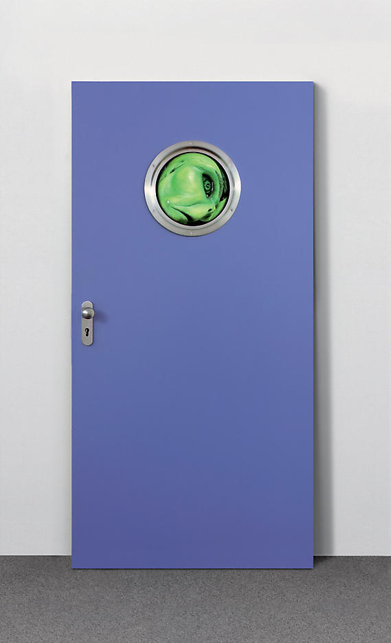 Tony Oursler: Fool 2006, edition of 15, 3 AP metal door with window and hardware, DVD player and screen, DVD Fool 78 x 38.5 x 4.75 inches/198 x 98 x 12 cm