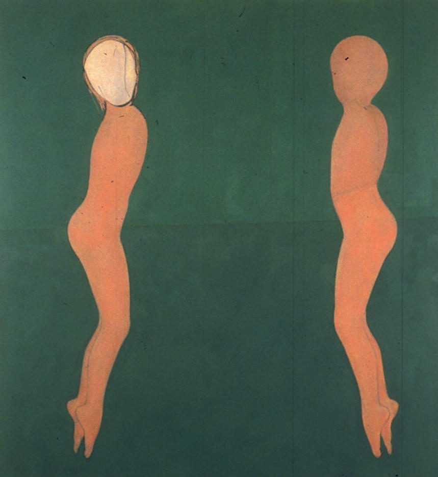 Two Figures Jumping	 1997	 oil and charcoal on canvas 72 x 66 inches/182.9 x 167.6 cm