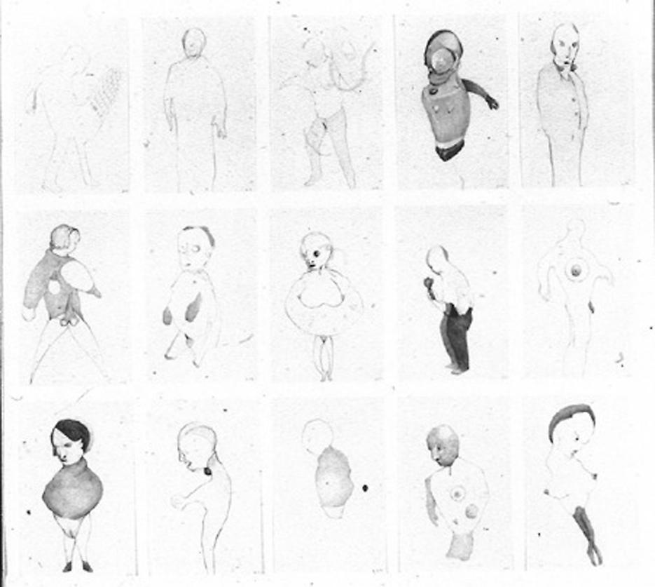 Group # 3 1993 graphite on paper, set of 15 drawings 30.5 x 33.5 inches/77.5 x 85.1 cm